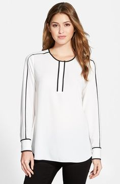 Vince Camuto Collarless Blouse with Contrast Piping (Regular & Petite) (Nordstrom Exclusive) available at #Nordstrom