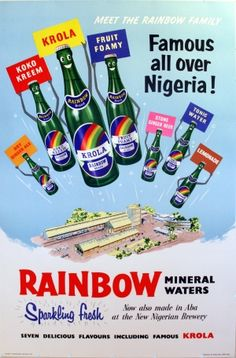 Rainbow Mineral Waters, 1955 - original vintage poster listed on AntikBar.co.uk