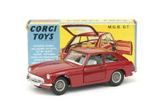Mettoy Corgi diecast No.327 MGB GT Vintage Metal, Vintage Ads, Automobile, Corgi Toys, Metal Toys, Hot Wheels Cars, Diecast Models, Old Toys, Courses