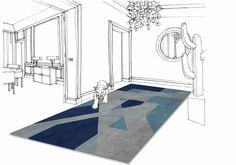 """""""Place de la concorde"""" - Perspective view  100% wool - 4 colours  200 x 270 cm"""