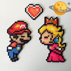 Mario and Princess Peach - Love perler beads by pixel_planet_