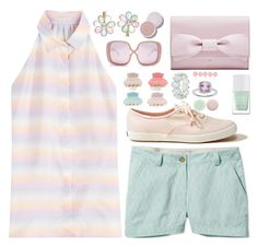 """Pastel Grid"" by linlizzy ❤ liked on Polyvore featuring Marco de Vincenzo, L.L.Bean, Hollister Co., Karen Walker, The Hand & Foot Spa, Nails Inc., LC Lauren Conrad, Sunnylife, Monsoon and Kim Rogers"