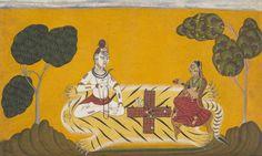 Devidasa of Nurpur Shiva and Parvati playing chaupar - folio from a Rasamanjari series