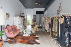 Adored Vintage Showroom in Long Beach- love the dark ceiling & white walls