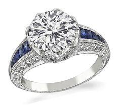 Art Deco 3.04ct Diamond Sapphire Engagement Ring