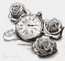 Timepiece and Roses Tattoo design by t-o-n-e on deviantART