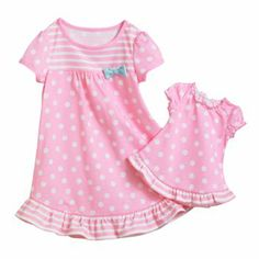 Jumping Beans Polka-Dot Nightgown and Doll Gown Set ... such a cute idea!