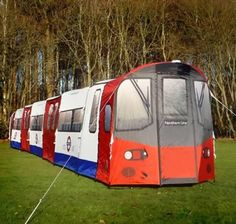 London Underground Tube Tent      With the London Underground Tube Tent, the Northern Line just got extended indefinitely. Able to pack in around 72 people at a stretch, and sleep 16 comfortably over five different compartments, it's an excellent option for parties, large-scale camping and epic sleep overs. Plus, since you can stay on board as long as you want and no inspectors are invited, you can literally party all night.