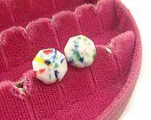 confetti octagon stud earrings