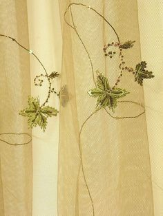 Embroidered Tulle 110 Inches Wide Khaki With Green By Eleptolis 00