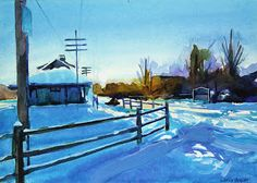 Williamsville Train Depot in Winter  Williamsville Train Depot in Winter Acrylic on Gessobord 5x7 Chris Breier  2017  I like to take walks early in the morning when most people are asleep. Its a way to get some mild exercise and to think about things. Walking outdoors in the winter can be uncomfortable but it can also be beautiful when its sunny. I took the reference photo for this painting when the sun was just about to come up over the trees which gave them a warm glow. The Williamsville…