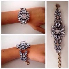 ❗️LAST❗️Clear Crystal Floral Chic Cuff Bracelet Brand new, Crystal floral design on a gold tone chain. Has several links so it will fit the smallest to larger wrists. All jewelry is buy 2 get 1 free. Jewelry Bracelets