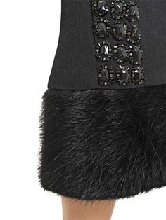 Marni Embroidered Wool and Beaver Fur Coat in Gray (grey/black) | Lyst