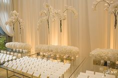 Love pure white for cocktail hour, and the splashes of color for the dinner reception!  @Four Seasons Bridal
