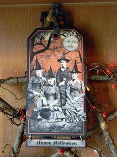 THE GATHERING  Primitive Halloween Tag by HarvestMoonEmporium, $4.00