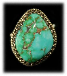 Carico Lake Green Turquoise | Carico Lake Turquoise Gold and Silver Ring for Women