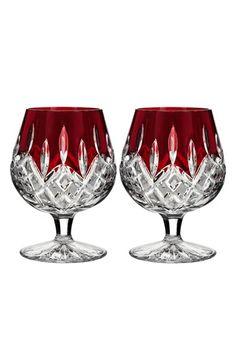 Waterford 'Lismore Red' Lead Crystal Brandy Glasses