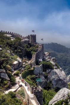 Castle of the Moors - a hilltop medieval castle constructed 8th to 9th century, Sintra, PORTUGAL