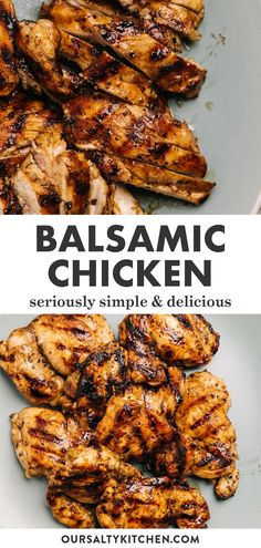 Transform boneless skinless chicken thighs into a magical meal with a simple balsamic marinade. Grilled Balsamic Chicken is so simple, but the flavor can't be beat. Healthy Grilled Chicken Recipes, Healthy Recipes, Simple Chicken Thigh Recipes, Healthy Delicious Meals, Different Chicken Recipes, Healthy Meats, Healthy Family Dinners, Healthy Chicken Dinner, Chicken Flavors
