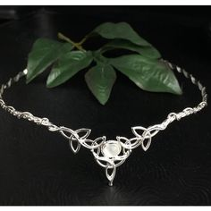 Celtic Wedding Bridal Headpiece Sterling Silver Circlet, 8mm... ($140) ❤ liked on Polyvore featuring jewelry, rings, celtic ring, sterling silver celtic rings, round wedding rings, celtic knot ring and white ring