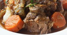 Impossibly tender beef pot roast with carrots, mushrooms and onions. It's easy in the slow cooker. The key is searing the meat first. Easy Pot Roast, Beef Pot Roast, Slow Cooker Roast, Pot Roast Recipes, Best Slow Cooker, Veggie Recipes, Slow Cooker Recipes, Beef Recipes, Veggie Food