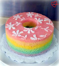 Loving Creations for You: Rainbow Chiffon Cake with Semi-painted Flowers