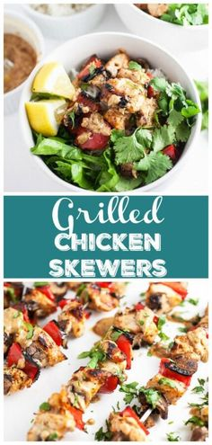 These Grilled Chicken Skewers with Thai Peanut Sauce are bursting with flavor! Marinated chicken kebobs and hearty vegetables are grilled to perfection. Healthy Pasta Sauces, Healthy Chicken Recipes, Grilled Chicken Skewers, Marinated Chicken, Food Dishes, Main Dishes, Sauce Recipes, Kabob Recipes, Italian Tomato Sauce