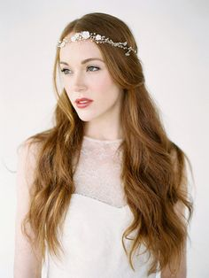 GISELLE Bohemian Bridal Headpiece, Pearl Bridal Crown