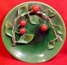palissy fruit plates | ... ) cherries & leaves Majolica wall plate, made by Palissy in Portugal