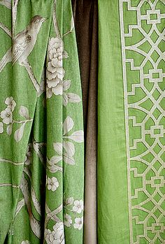 'Don't Fret' (66180) and 'Chinois Palais' (175040) fabrics in Lettuce - Mary McDonald for F. Schumacher