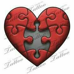 42 Ideas Tattoo Heart Mom Puzzle Pieces - The Effective Pictures We Offer You About tattoo minimaliste A quality picture can tell you many t - Broken Heart Drawings, Broken Heart Tattoo, Puzzle Tattoos, Skull Tattoos, Body Art Tattoos, Easy Drawings, Tattoo Drawings, Jigsaw Tattoo, Puzzle Drawing