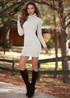 Turtleneck sweater dress, tie back boot in the VENUS Line of Dresses for Women
