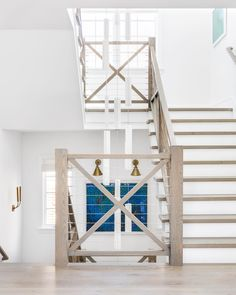 Interior Design Ideas: Modern Coastal Shingle Home - Farrmhouse Wood Staircase Rift White Oak with a custom, grey stain Farrmhouse Wood Staircase Rift W - Foyer Chandelier, Wood Staircase, Staircase Ideas, Rustic White, White Oak, Modern Coastal, Coastal Style, Modern Rustic, Modern Farmhouse