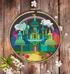 Modern Cross Stitch Pattern of Wizard of Oz City for Instant