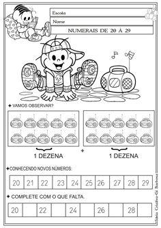 Atividade Numerais 20 á 29 Turma da Mônica Colorir | Ideia Criativa - Gi Barbosa Educação Infantil