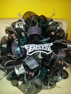 Philadelphia Eagles Mesh Wreath; Football Wreath; Fall