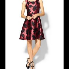 Printed Dress in Rose and Black Fit and flair dress by Rhyme from Los Angeles. Rhyme Los Angeles Dresses Midi