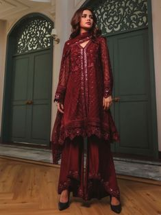 Stunning maroon embroidery straight cut suit online which is crafted from chiffon fabric with exclusive embroidery. This stunning designer straight cut suit comes with raw silk bottom and chiffon dupatta. Latest Punjabi Suits, Women's A Line Dresses, Salwar Suits Online, Gowns Online, Lace Design, Chiffon Fabric, Hijab Fashion, Evening Gowns, Embroidery Designs