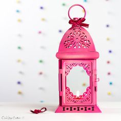 Valentine's Day Scheherazade Exotic Lantern/ Moroccan  Decor/ Filigree Fuchsia/ Pink Metal Candle Holder/ Wedding, Home Decoration