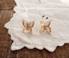 Vintage 1970s Butterfly Earrings