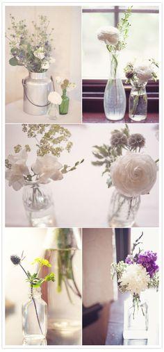 Simple yet pretty little flower arrangements.