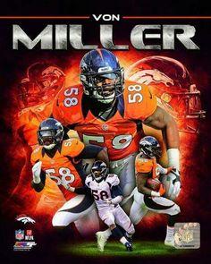 Von Miller - Denver Broncos Super Bowl 50 Champion and MVP Denver Broncos Football, Go Broncos, Broncos Fans, Cincinnati Bengals, Broncos Players, Bears Football, Football Art, Football Stuff, Sport Football