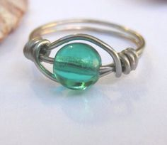 Teal green ring or toe ring wire wrapped any size by SunshineDaydreamz, $6.00