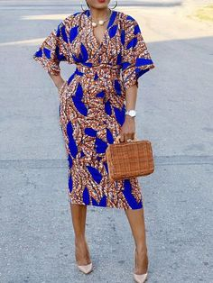 Blue Tribal Print Sashes Bodycon V-neck High Waisted Elegant Party Midi DressYou can find Tribal prints and mo. African Fashion Ankara, Latest African Fashion Dresses, African Print Fashion, Fashion Prints, African Style, Short African Dresses, African Print Dresses, Style Africain, Ankara Dress Styles