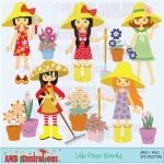 Gardening Girls Clipart