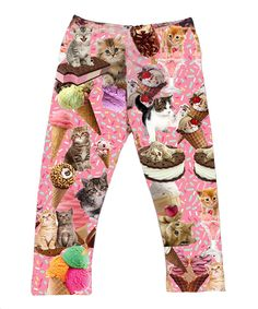 Loving this Urban Smalls Pink Ice Creams & Kittens Leggings - Infant, Toddler & Girls on #zulily! #zulilyfinds