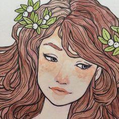 """""""Never ending story of redrawing Aviva  #workinprogress #wip #art #watercolor"""""""
