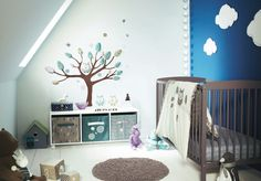 Cribs bedding wall stickers tree blue wall clouds