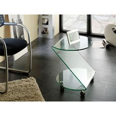 Matera side table in clear bent glass with wheels - 7773 modern, contemporary living room furniture set clearance sale.