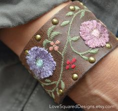 THIS IS ABSOLUTLY GORGEOUS!  Only 3 available!!!   Leather embroidered leather cuff bracelet by LoveSquaredDesigns